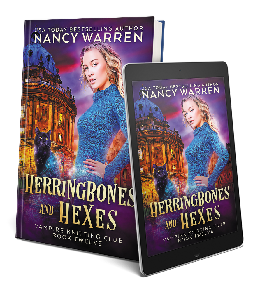 Cover of Herringbone and Hexes by Nancy Warren in paperback an epub